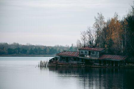 Abandoned bay on the lake in Pripyat in Chernobyl