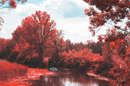 A guy and a girl canoe paddling the river