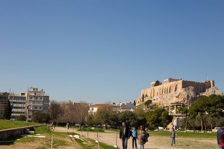 Beautiful view of the Acropolis of Greece in Athens during the afternoon Stock fotó