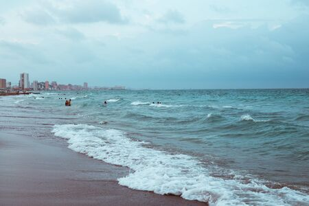 Beautiful surging mediterranean sea with waves