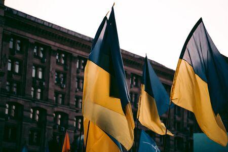 Flags of Ukraine on the street Foto de archivo