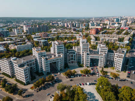 Aerial view of Derzhprom building on freedom square in kharkov