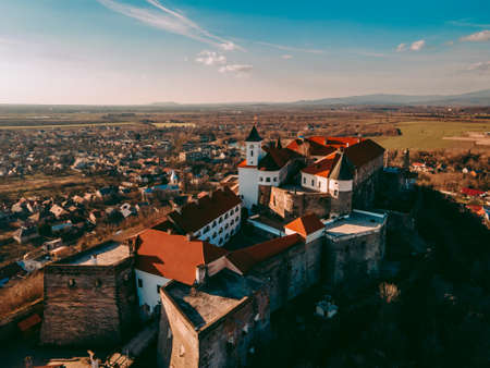 Aerial drone view of the medieval Palanok castle in the city of Mukachevo in western Ukraine 版權商用圖片