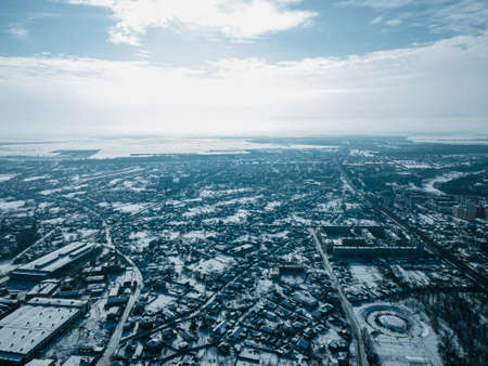 Aerial view from a drone of the city of Nizhyn, Chernihiv region in winter