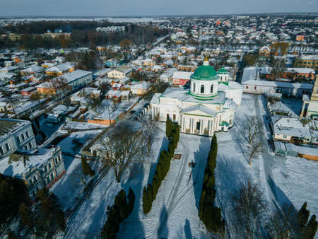 Aerial view from a drone at All Saints church in the city of Nizhyn, Chernihiv region