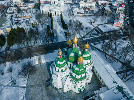 Aerial view from a drone of the Mykolayivsʹkyy Sobor in the Ukrainian Baroque style in the city of Nizhyn, Chernihiv region