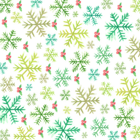 holly day: Snowflakes and holly berries-watercolor