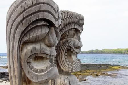 southsea: Tiki Statuen am Place of Refuge  Honaunau, Hawaii