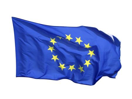 흰색 배경에 고립 된 플래그 유럽 공동체,
