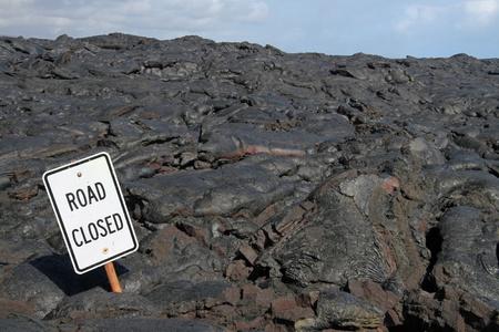 road closed: road closed - lava field near kalapana (big island, hawaii) Stock Photo