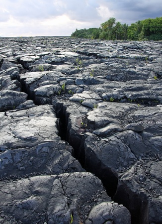 tectonics: crack in the lava field near kalapana (big island, hawaii)