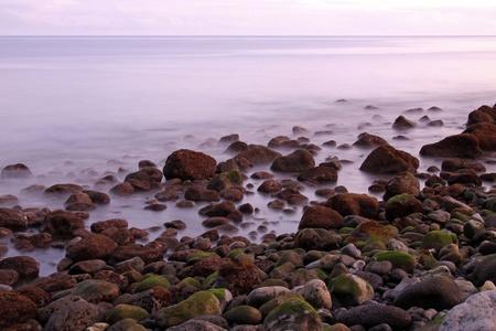 detritus: stony shore at the evening (long time exposure) 01