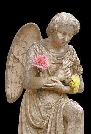 mourning: Statue of a little angel - isolated on black background