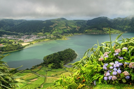 crater lake:  View of the crater lake Lagoa Azul at Sao Miguel (Azores islands) Stock Photo