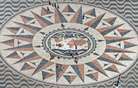 Mosaic in front of the monument  Padrao dos Descobrimentos  in Lisbon Stock Photo - 20661994