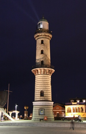attraktion: Old lighttower of Warnemuende (North-Germany) by night