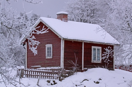 coldly: Snowy cottage in Smaland (Sweden)  Stock Photo