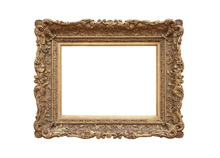 Medieval picture frame (sapia tone), isolated on white background  photo