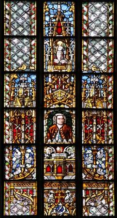 attraktion: Portrait of the composer Johann Sebastian Bach at a window of the St. Thomas Church, Leipzig (Germany) Stock Photo