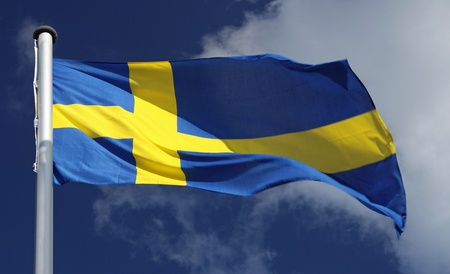 Swedish Flag in the sunlight  photo