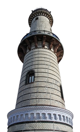 attraktion: light tower of Warnemuende (Germany), isolated on white background