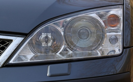 close-up view of front Xenon lights of a modern car Stock Photo - 12550343