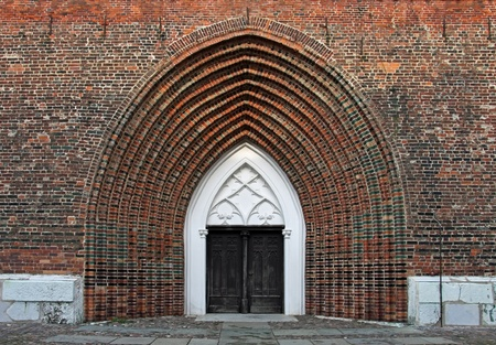 attraktion: Entrance of the Cathedral St. Nikolai in Greifswald (Mecklenburg-Vorpommern, Germany) Stock Photo