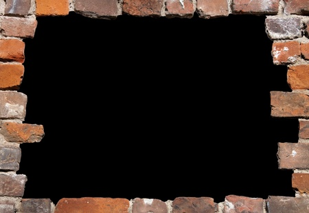 freigestellt: Old brick wall as a grungy frame, isolated on black background in the centre 01  Stock Photo