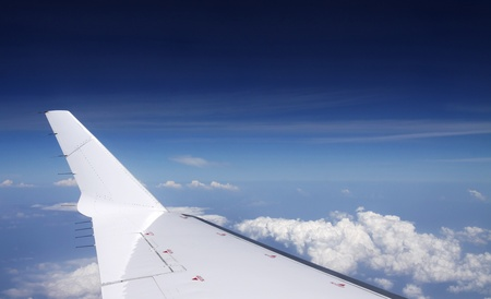View of jet plane wing in clear sky