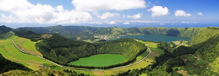 craters: View to the Caldeira of Sete Cidades from the viewpoint near Lagoa de Canario (Sao Miguel, Azores)  Stock Photo