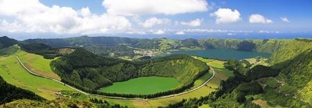 attraktion: View to the Caldeira of Sete Cidades from the viewpoint near Lagoa de Canario (Sao Miguel, Azores)  Stock Photo