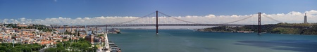 lisbonne: panorama view of the Lisbon Bridge - April 25th, Old Salazar Bridge, Portugal