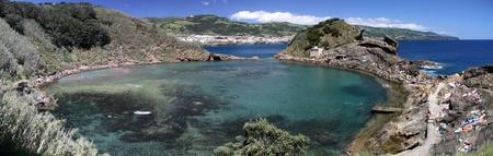 attraktion: Panorama of the volcanic crater pool Illheu de Vila Franca near the coast of Sao Miguel (Azores) Stock Photo