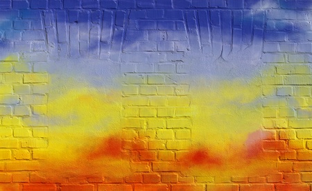 window graffiti: Painted brick wall as background 02