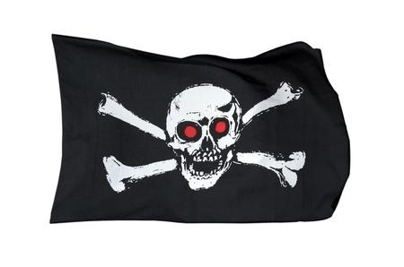 drapeau pirate: Drapeau de pirate, isolé sur fond blanc