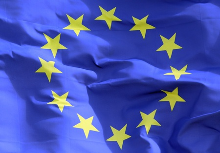Close-up view of an Euro flag as background
