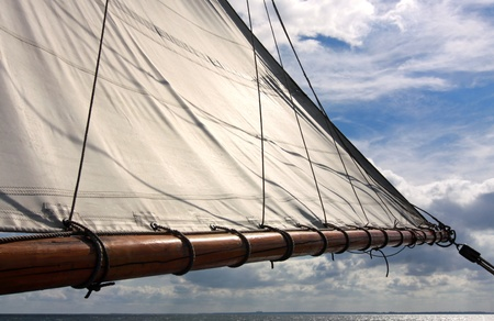 yachtsman: Sail as background Stock Photo