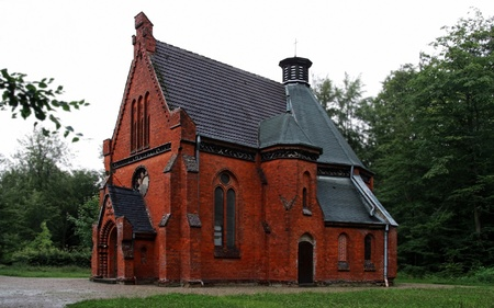 monastery nature: Little Church in the Forest near Heiligendamm  Mecklenburg, Germany   Stock Photo