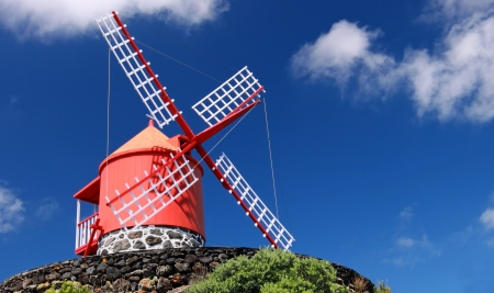 Traditional windmill near Feteira  Piso Island, Azores