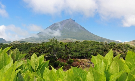 Volcano Mount Pico at Pico island Stock Photo