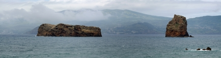 madalena: Rocks between the islands Pico and Faial near Madalena  Azores islands  - Panorama