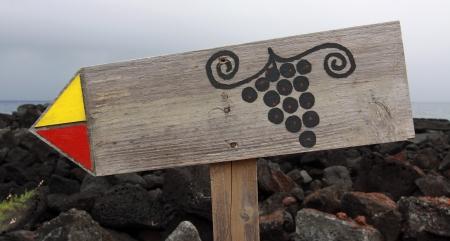 madalena: Sign to the vineyards near Madalena  Pico Island, Azores Islands  Stock Photo
