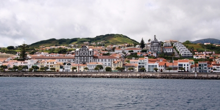 curch: Waterfront of Horta - the capital of Faial island, Azores Islands Stock Photo