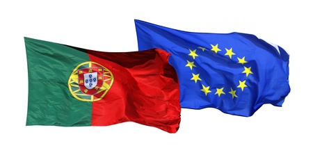 Flags of Portugal and EU, isolated on white background photo