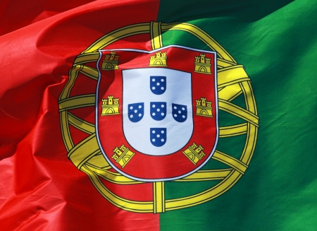 close-up of a national flag of Portugal photo