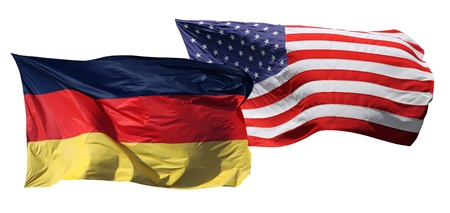Flags of the United States of America and Germany, isolated on white background photo