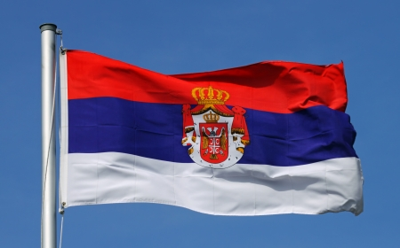 double headed: Flag of Serbia Stock Photo