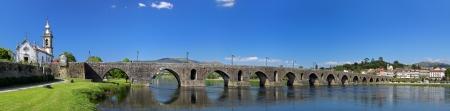 lima: Panoramic view of the old romanic bridge of Ponte de Lima