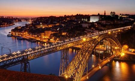 Porto - river Douro an Dom Luis bridge after sunset photo