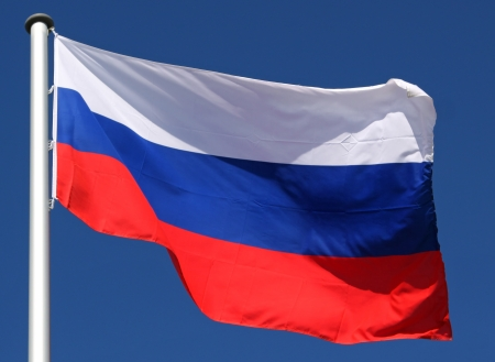 Flag of Russia in the sun photo